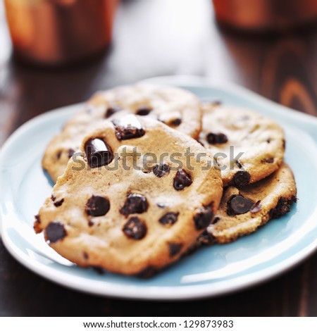 plate of chocolate chip cookies - stock photo