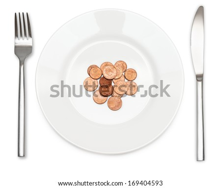 Plate of coins with a fork and knife. Money and food concept. - stock photo