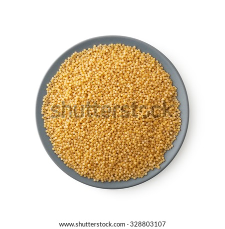 Plate of couscous, clipping path, isolated on white background - stock photo