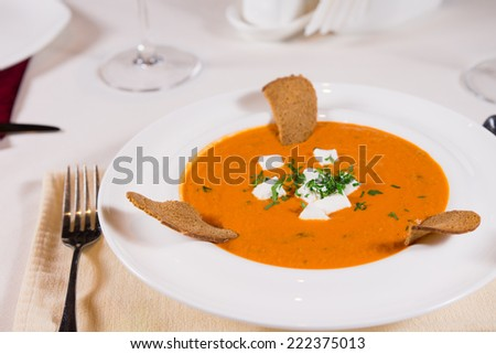 Plate of delicious pumpkin or butternut soup served with melba toast and garnished with fresh herbs - stock photo