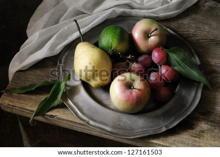 Plate of fruit - stock photo