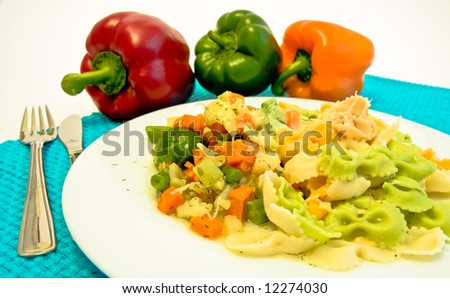 plate of mixed pasta with vegetable - stock photo