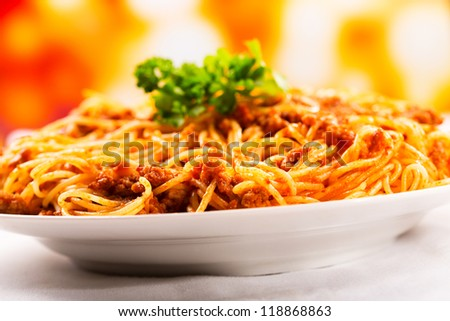 plate of of spaghetti with meat sauce - stock photo