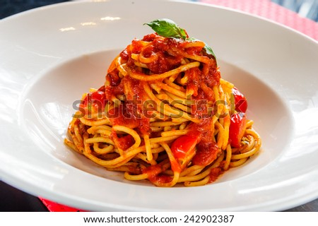 Plate of  pasta with tomatoe sauce.. - stock photo