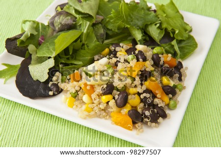 Plate of quinoa vegetable salad and field greens on a green tablecloth - stock photo