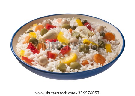plate of rice with mixed vegetables  - stock photo
