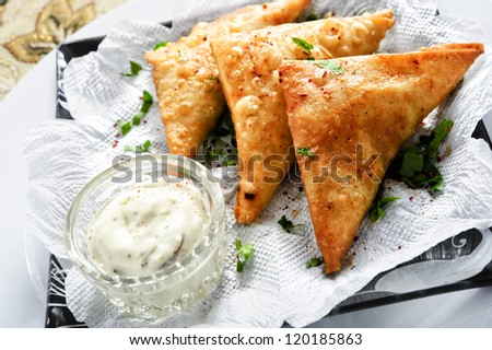 Plate of sambusek,traditiona l Arabic food. - stock photo