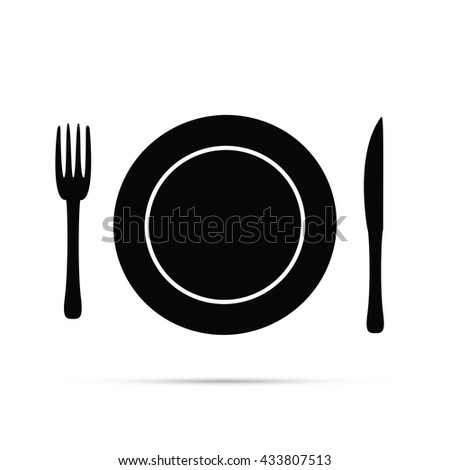 Plate Setting with Fork & Knife Icon.  Raster Version - stock photo