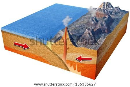 Plate subduction - stock photo