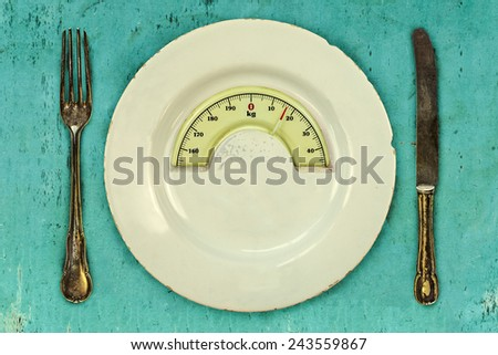 Plate with fork and knife on a plaid with a weight balance scale integrated in the plate - stock photo
