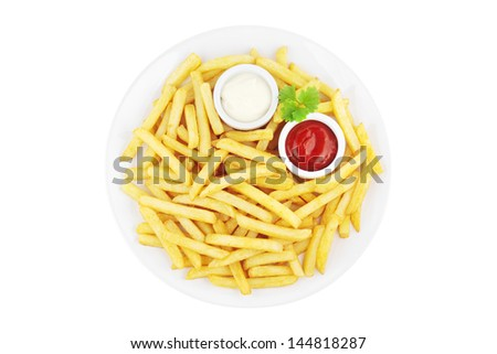 Plate with french fries and sauces viewed from above and isolated on white - stock photo