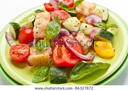 Plate with Fresh Panzanella (Tuscan Tomato and Bread Salad) - stock photo
