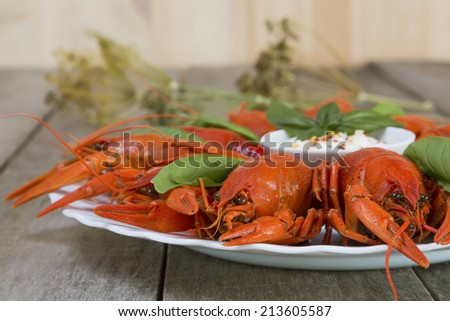 Plate with red boiled crayfish and herbs with white sauce on the side on a wooden table, background in rustic style, close-up, selective focus on one crawfish - stock photo
