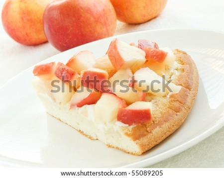 Plate with slice of apple cake. Shallow dof. - stock photo
