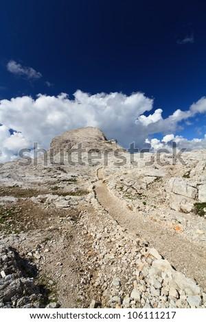 plateau in Pale di San Martino Dolomites and Rosetta peak, Trentino, Italy - stock photo