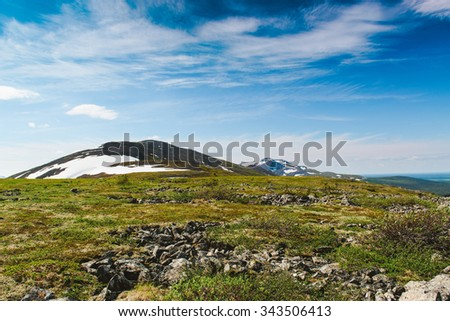 Plateau pass in the Polar Urals. National park Yugyd-Va, Ural, Russia. - stock photo