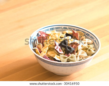 plateful of the fancy pasta - stock photo