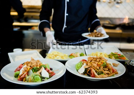 Plates of colorful salad ready to serve - stock photo