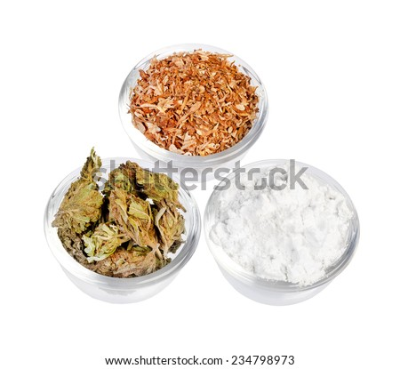 Plates with cocaine, cannabis & tobacco isolated on background - stock photo