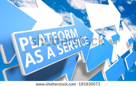 Platform as a Service 3d render concept with blue and white arrows flying in a blue sky with clouds - stock photo