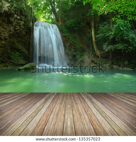 platform beside lake, Tropical forests in Thailand - stock photo