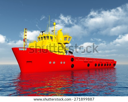 Platform Supply Vessel Computer generated 3D illustration - stock photo