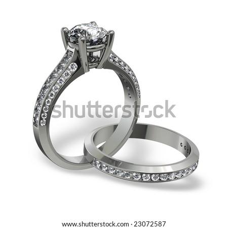 Platinum diamond wedding set isolated on white - stock photo