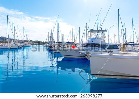 Platja de Alcudia marina in Mallorca Majorca at Balearic islands of Spain - stock photo