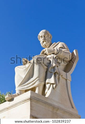 Plato, Academy of Athens, Greece - stock photo