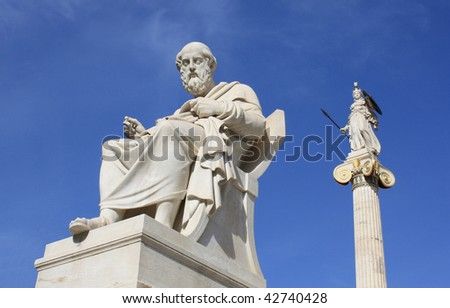 Plato and Athena - stock photo