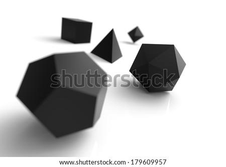 platonic solids black 1 - stock photo