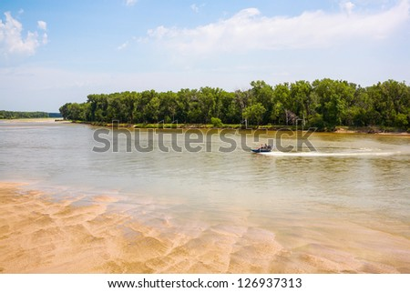 Platte River, west of Omaha, Nebraska - stock photo