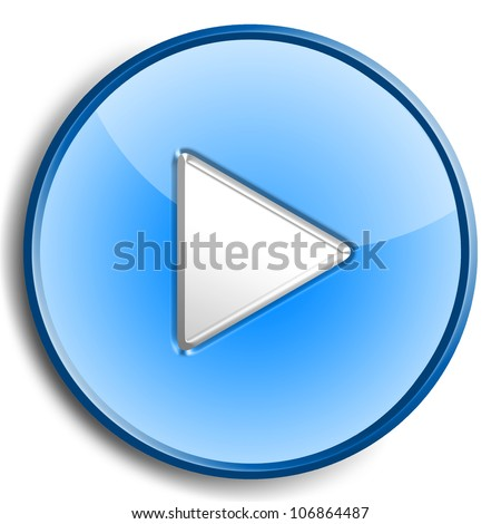 Play button isolated on white - stock photo