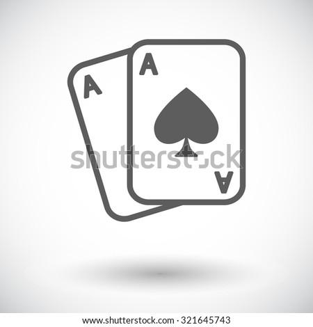 Play card. Single flat icon on white background.  illustration. - stock photo