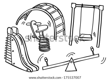 Play ground toys doodle - stock photo