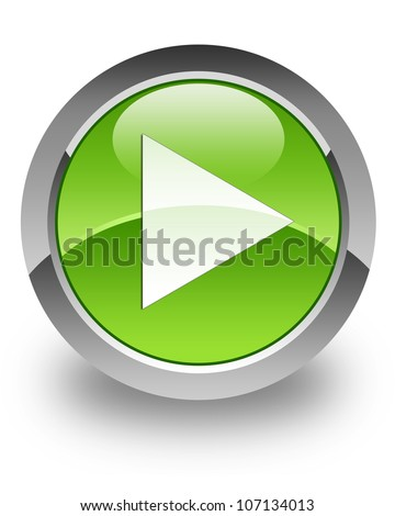 Play icon on glossy green round button - stock photo