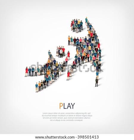 play people crowd - stock photo