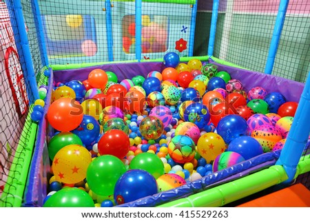 play room with colorful balls at hotel, Colorful plastic balls - stock photo