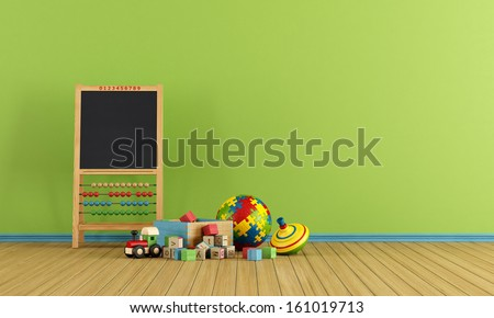 Play room with toys and blackboard with abacus - rendering - stock photo