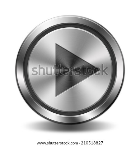 Play sign icon. Circular button with metal texture. - stock photo