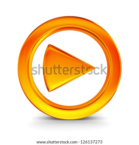play sign on white background. Isolated 3D image - stock photo