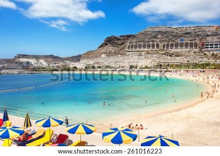 Playa de Amadores beach near Puerto Rico town. Gran Canaria, Canary Islands. Spain - stock photo