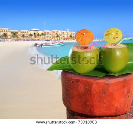 playa del Carmen mexico Mayan Riviera beach coconut cocktail straw [Photo Illustration] - stock photo