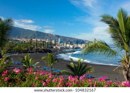 playa Jardin,Puerto de la Cruz, Tenerife, Spain - stock photo