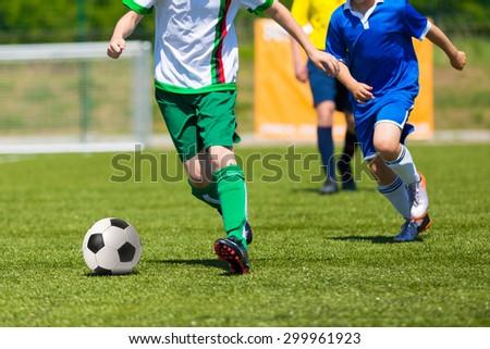 players kick football ball. soccer match team, football soccer game - stock photo