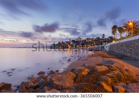 Playetes beach (Oropesa del Mar, Castellon - Spain). - stock photo