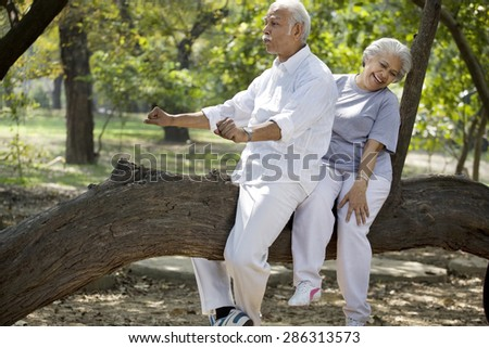 Playful senior man enjoying with woman at park - stock photo