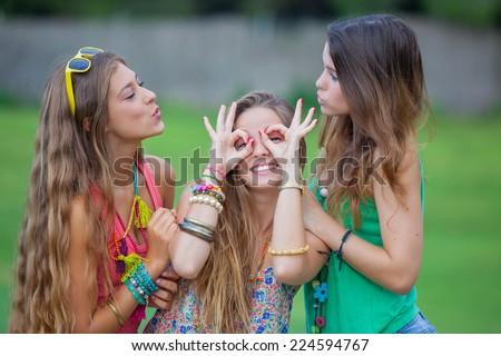 playful teen girls goofing - stock photo