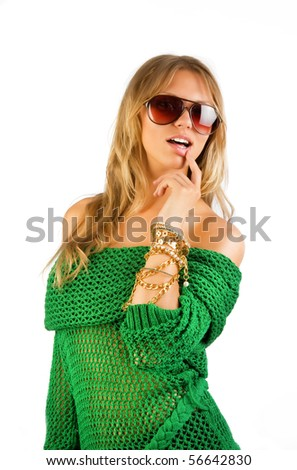 Playful woman is posing in studio - stock photo