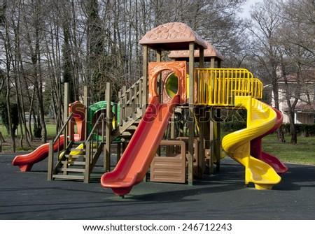 Playground at the park  - stock photo